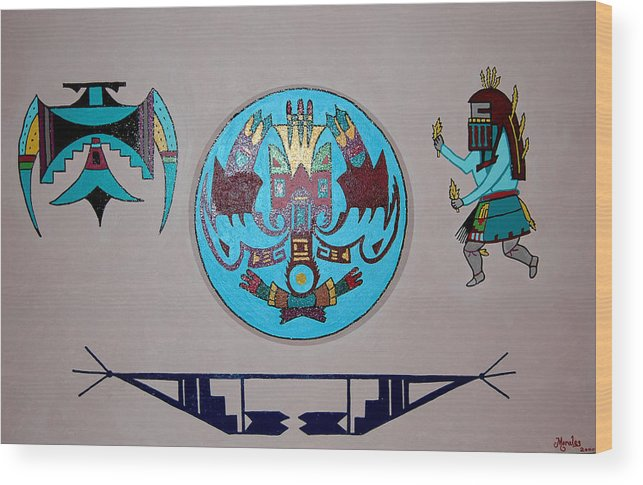 Native American Art Wood Print featuring the painting Kachina Dance by Marco Morales