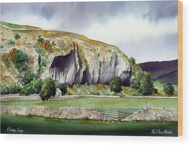 Landscape Wood Print featuring the painting Kilnsey Crag by Paul Dene Marlor