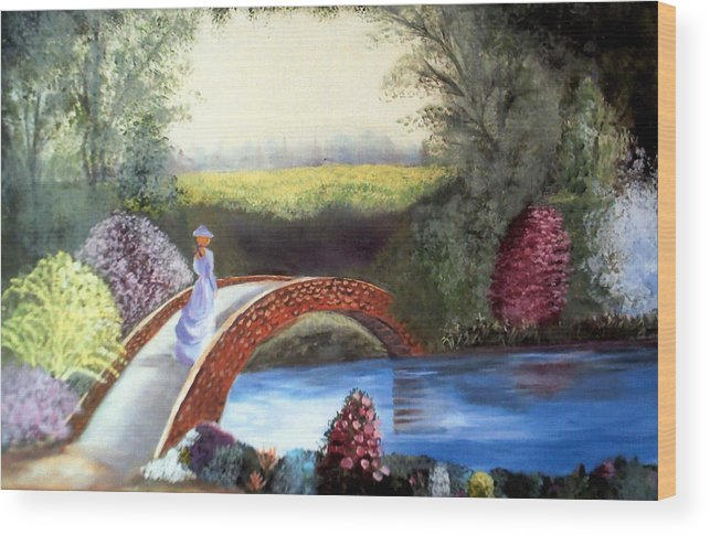 Landscape Wood Print featuring the painting Lady On The Bridge by Julie Lamons