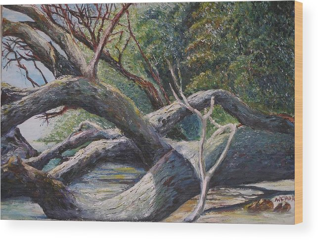 Landscape Wood Print featuring the painting Lazy Afternoon by Wendy Chua
