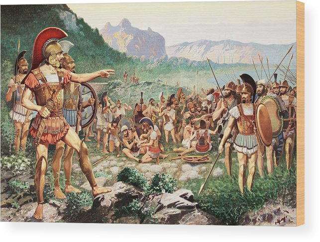 Illustration Wood Print featuring the photograph Leonidas Bids Farewell To Allies by H.M. Herget