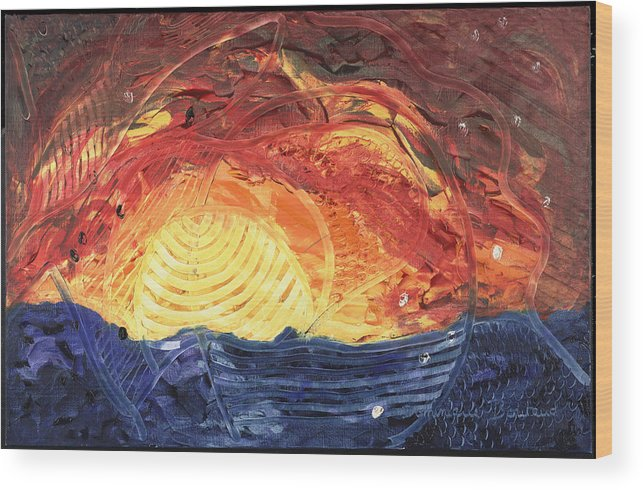 Abstract Wood Print featuring the painting Lever De Soleil by Dominique Boutaud