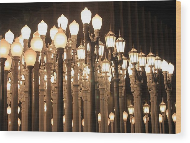 Lights Wood Print featuring the photograph Lights At The Lacma La County Museum Of Art 0768 by Edward Ruth