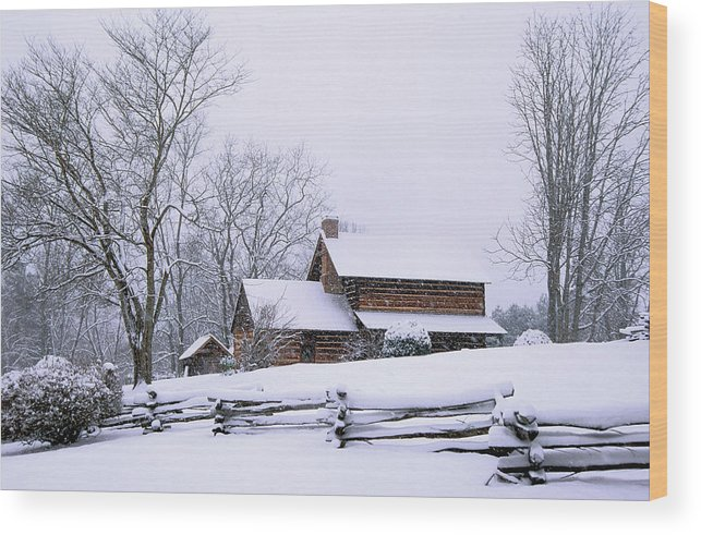 Log Cabin Wood Print featuring the photograph Log Cabin In Snow by Alan Lenk