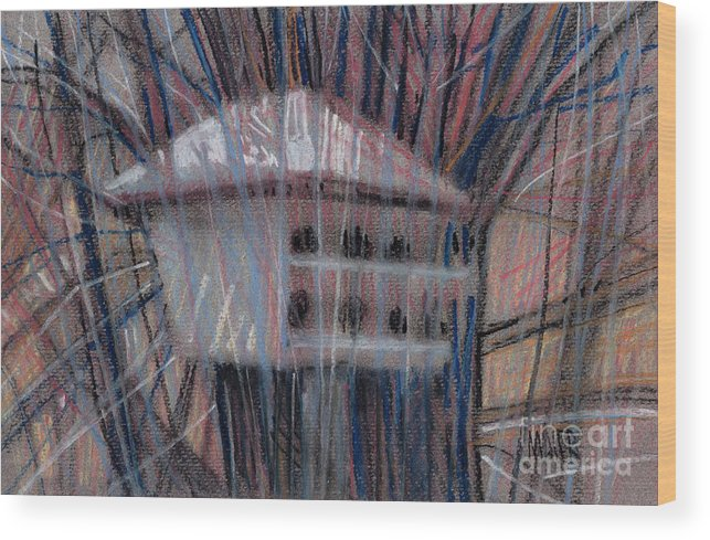 Martin Wood Print featuring the drawing Martin House by Donald Maier
