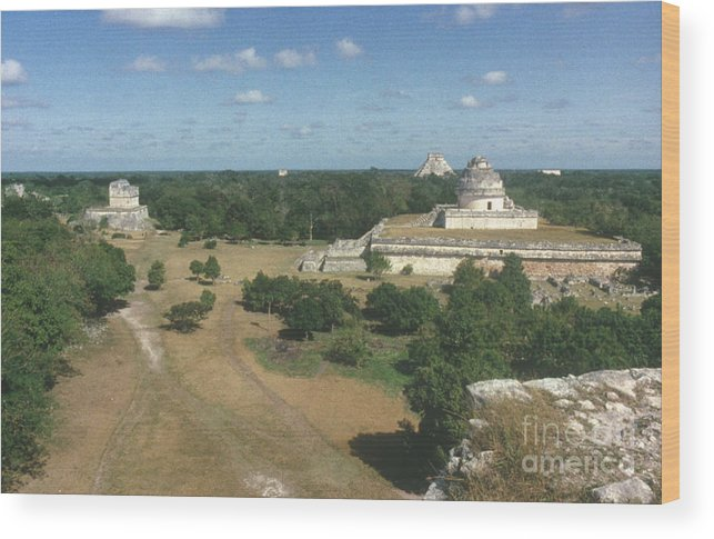 Ancient Wood Print featuring the photograph Mayan Observatory, Mexico by Granger