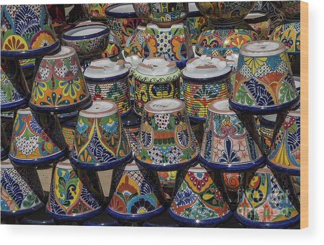 Flowerpots Wood Print featuring the digital art Mexican Flowerpots by Elisabeth Lucas