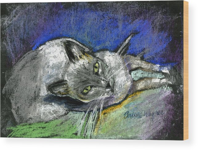 Cat Wood Print featuring the pastel Michael Campbell by Arline Wagner