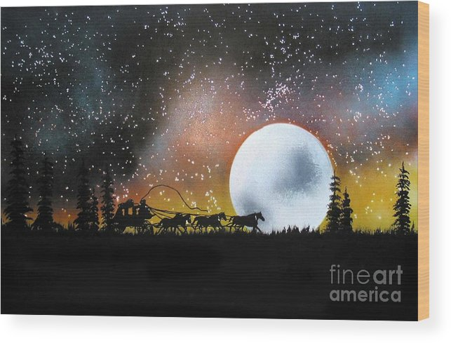 St. Louis San Francisco Stage Night Moon Stars Silouette Wood Print featuring the painting Midnight Run - St. Louis To San Francisco by Ed Moore