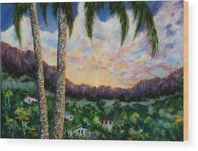 Landscape Hawaii Wood Print featuring the painting Miller's View by Thomas Restifo