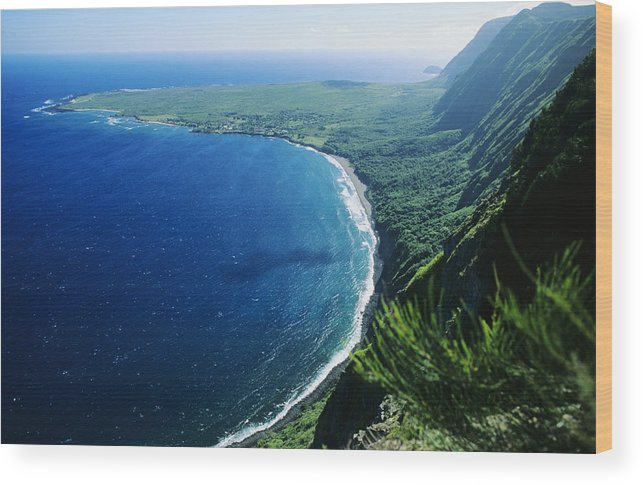 Above Wood Print featuring the photograph Molokai, View by Ali ONeal - Printscapes