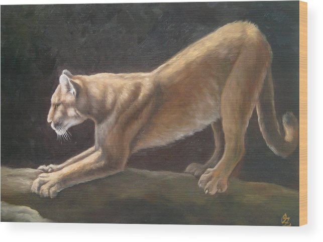 Cougar Wood Print featuring the painting Morning Stretch by Oksana Zotkina