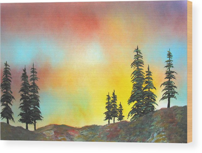 Mountain Morning High Sierra California Nature Wilderness Trees View Landscape Wood Print featuring the painting Mountain Morning In The High Sierra by Ed Moore
