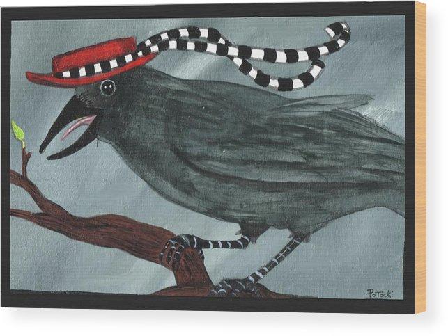 Black Bird Wood Print featuring the painting Mrs. Crow's New Hat by JoLynn Potocki