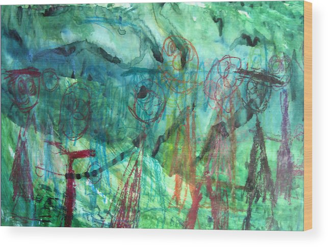 Alfred Resteghini Wood Print featuring the mixed media My Family by Alfred Resteghini