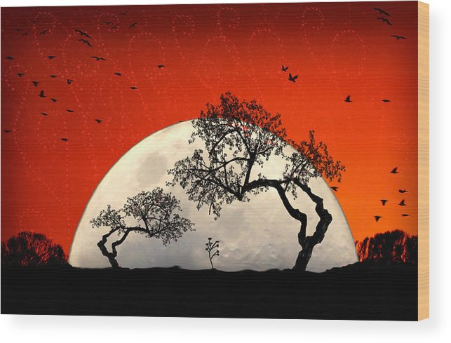 Moon Wood Print featuring the digital art New Growth New Hope by Holly Kempe