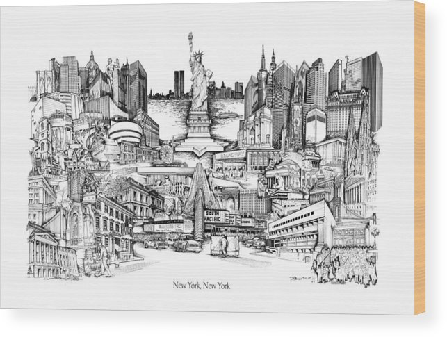 City Drawing Wood Print featuring the drawing New York by Dennis Bivens