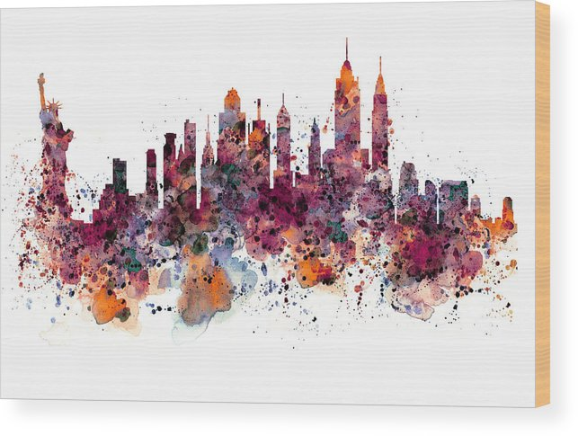 New York Wood Print featuring the painting New York Skyline Watercolor by Marian Voicu