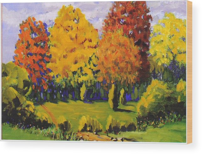 Landscape Wood Print featuring the painting October Woods by Jonathan Carter