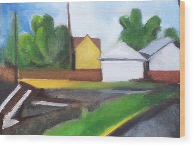 Landscape Wood Print featuring the painting Off 80 by Ron Erickson