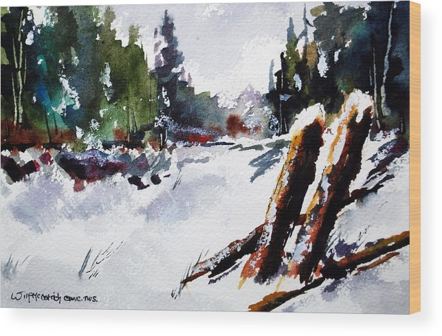 Two Old Farm Fence Posts Chat Together In A Field Of Freshly Fallen Snow. Wood Print featuring the painting Old Posts In Snow by Wilfred McOstrich