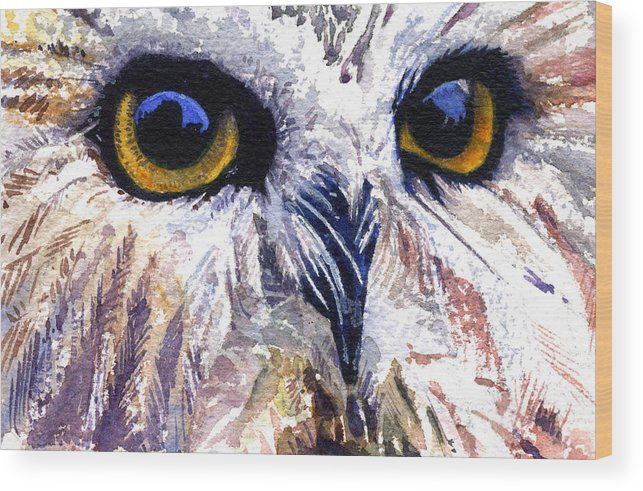 Eye Wood Print featuring the painting Owl by John D Benson