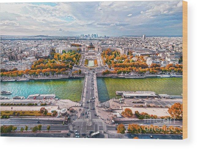Paris Wood Print featuring the photograph Paris City View 19 Art by Alex Art and Photo