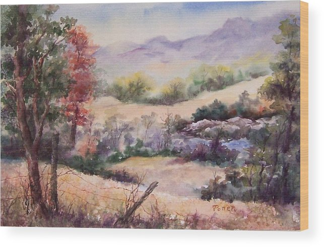 Fall Wood Print featuring the painting Pee Dee Creek by Virginia Potter