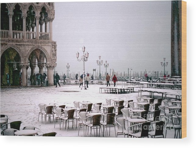 Venice Wood Print featuring the photograph Piazzetta San Marco In Venice In The Snow by Michael Henderson