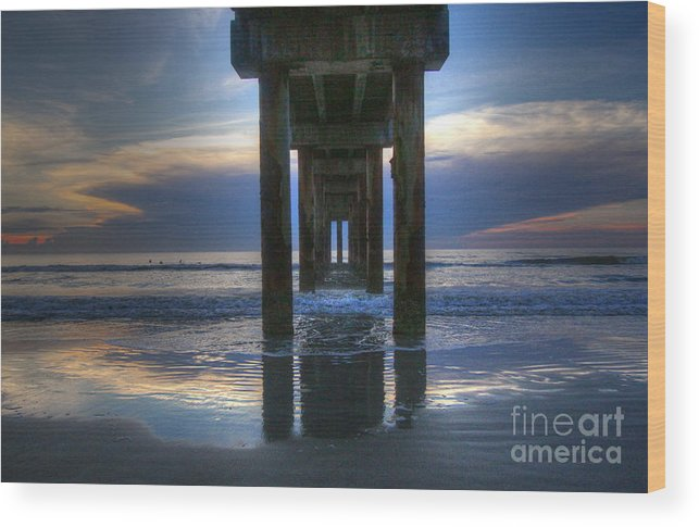 Waterscape Wood Print featuring the photograph Pier View At Dawn by Myrna Bradshaw