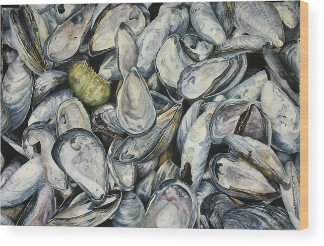 Mussel Shells Wood Print featuring the painting Point Pleasant Buffet Garden by Helen Shideler