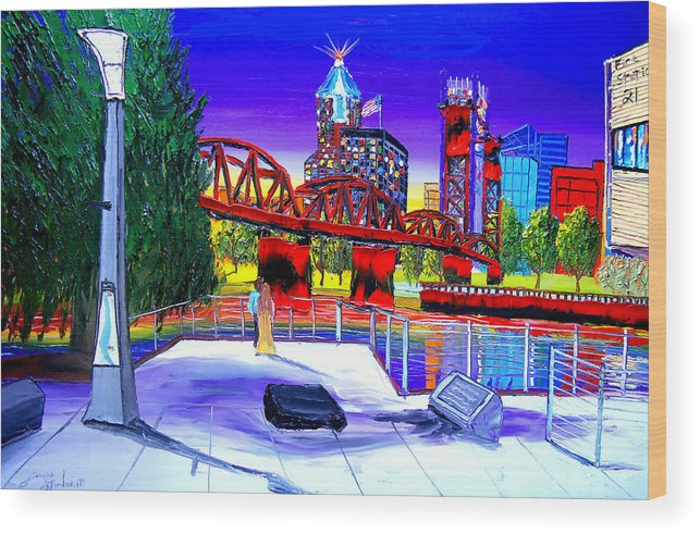 Wood Print featuring the painting Portland City Lights 62 Over Fire Station #21 by Dunbar's Modern Art