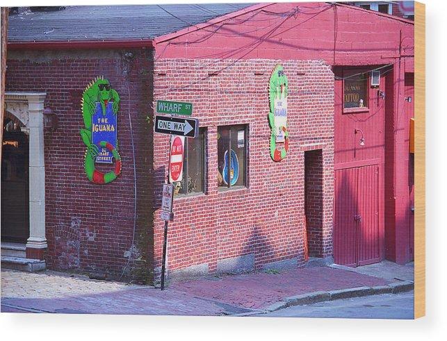 America Wood Print featuring the photograph Portland Maine - Wharf Street by Frank Romeo