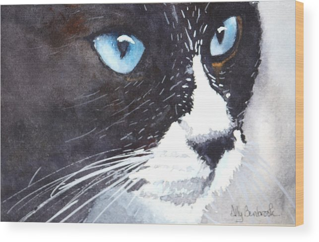 Tuxedo Cat Wood Print featuring the painting Premonition by Ally Benbrook