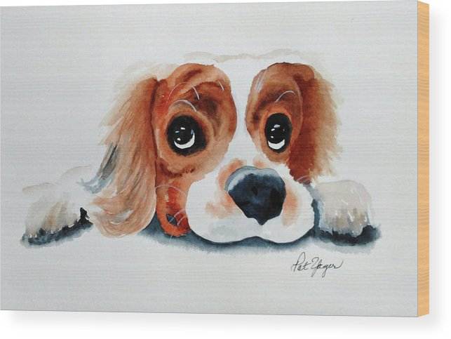 King Charles Cavalier Wood Print featuring the painting Pretty Please? by Pat Yager