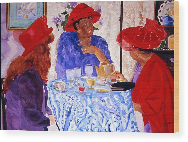 Red Hat Wood Print featuring the painting Red Hatters Chatter by Jean Blackmer