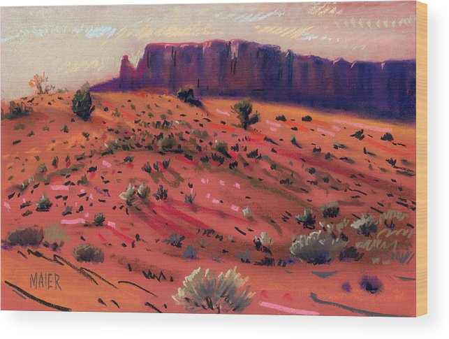 Monument Valley Wood Print featuring the painting Red Sand by Donald Maier