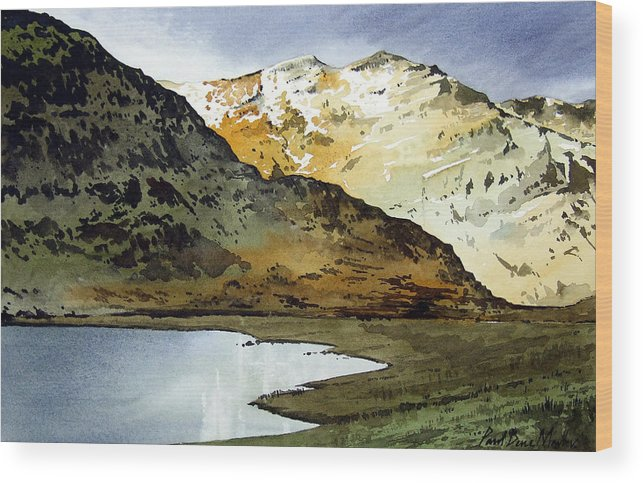 Watercolour Landscape Of Scottish Mountains Wood Print featuring the painting Rest And Be Thankful Pass by Paul Dene Marlor