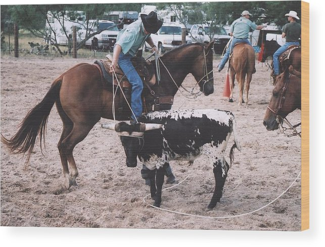 Horse Wood Print featuring the photograph Roping Event 1 by Wendell Baggett