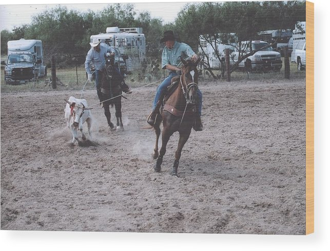 Horses Wood Print featuring the photograph Roping Event 4 by Wendell Baggett