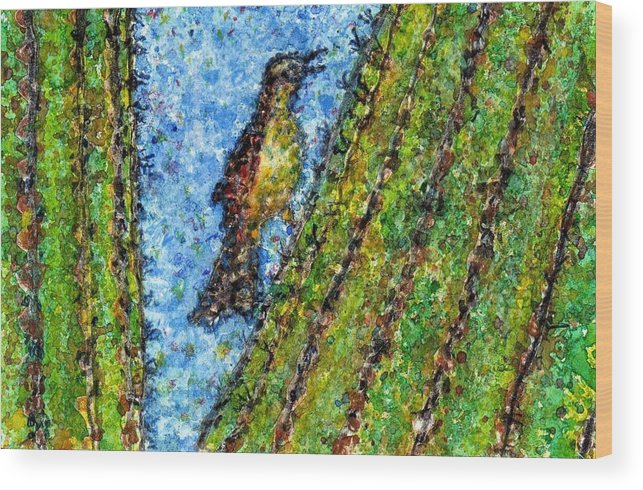 Watercolor Wood Print featuring the painting Saguaro Cactus With Woodpecker by Cynthia Ann Swan