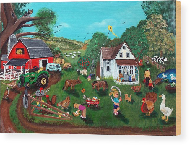 Farm Wood Print featuring the painting Samuels Alaphabet Farm by Darlene Green