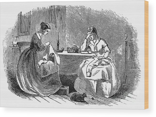 19th Century Wood Print featuring the photograph Sewing, 19th Century by Granger