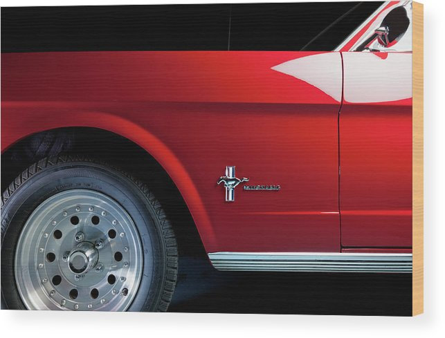 Ford Mustang Wood Print featuring the photograph Side View Of 1964 Ford Mustang by Ruurd Dankloff
