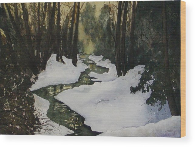 Watercolour Wood Print featuring the painting Silent Snow by Sharon Steinhaus