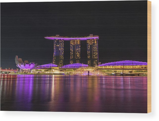 Artscience Museum Wood Print featuring the photograph Singapore In Purple 1 by Kim Wilder Hinson