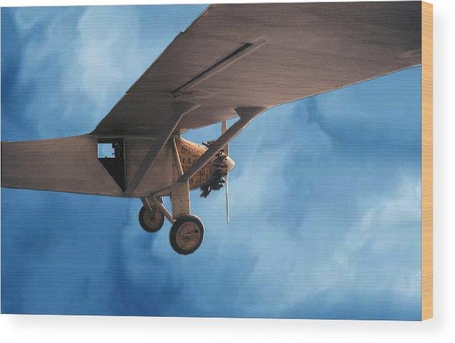 Sky Flight Plane spirit Of Saint Louis Adventure Imagination Dream Wood Print featuring the photograph Spirit Of Saint Louis Flys Again by Lawrence Costales