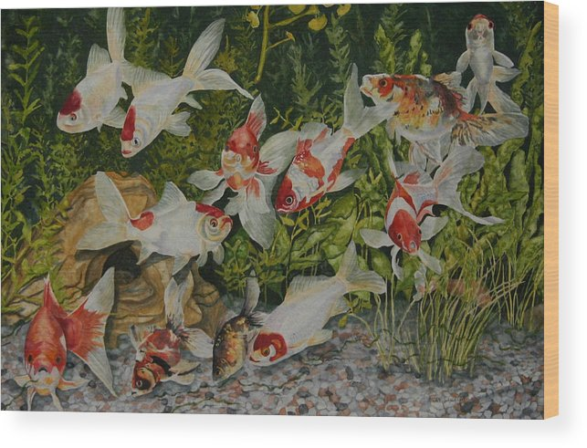 Goldfish Wood Print featuring the painting Spot Dot Marilyn Nemo And Others by Helen Shideler