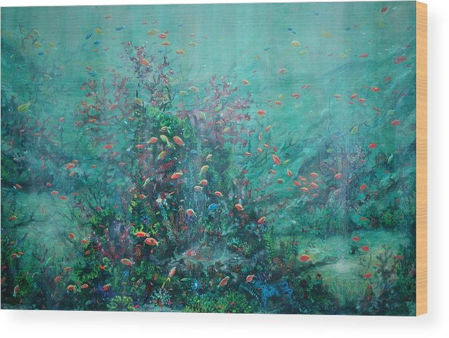 Unaderwater Paintings Wood Print featuring the painting Spring Underwater  by Ana Bikic
