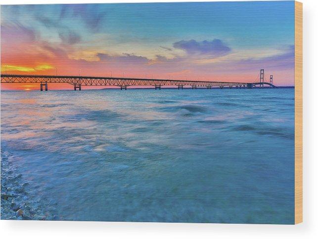 Sunset Panorama At Mackinac Bridge Wood Print featuring the photograph Sundown At Mackinac Bridge by Dan Sproul
